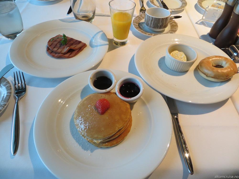 I spisesalene kan du selv velge hva du vil ha til frokost, som nystekte pannekaker eller en bagel.